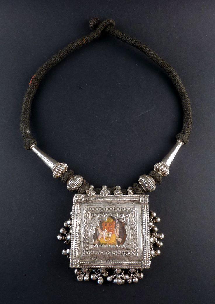 Rajasthan old silver handpainted Ganesha pendant | ethnicadornment