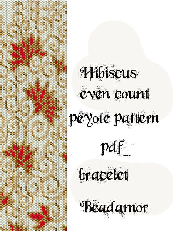 Peyote Pattern for bracelet: Hibiscus Flower INSTANT by Beadamor