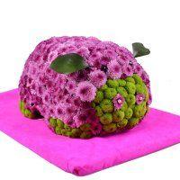 Pig - Composition: Сhrysanthemum green,Сhrysanthemum pink,Decorative elements,Oasis,Stand.