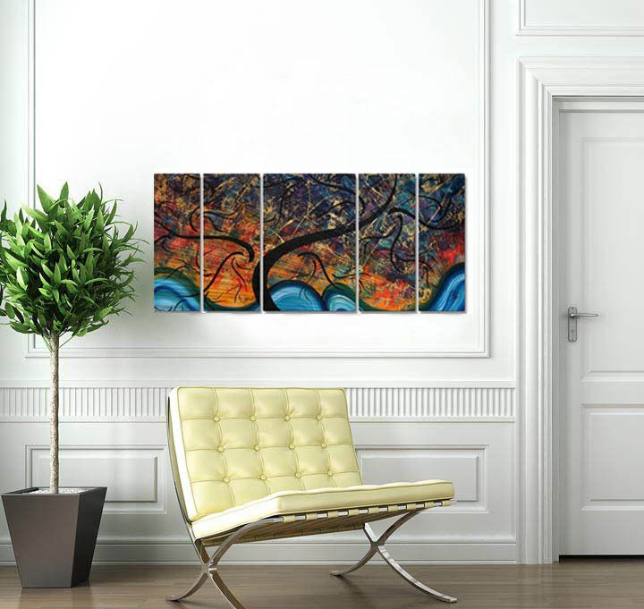 Brilliant Branches Metal Wall Art ~ Decor4u.com. Abstract and modern magical trees on an ocean wave is loaded with color provided by talented artist Megan Duncanson in Brilliant Branches Wall Art.