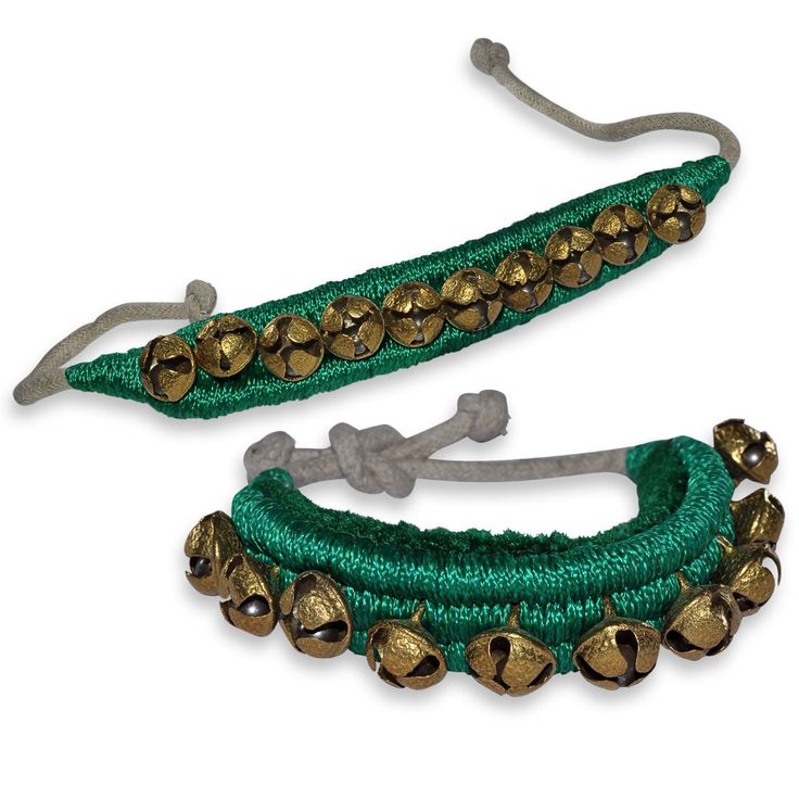 Ghungroo Pair, 1 line of Bells Mounted on Good Quality Green Pads