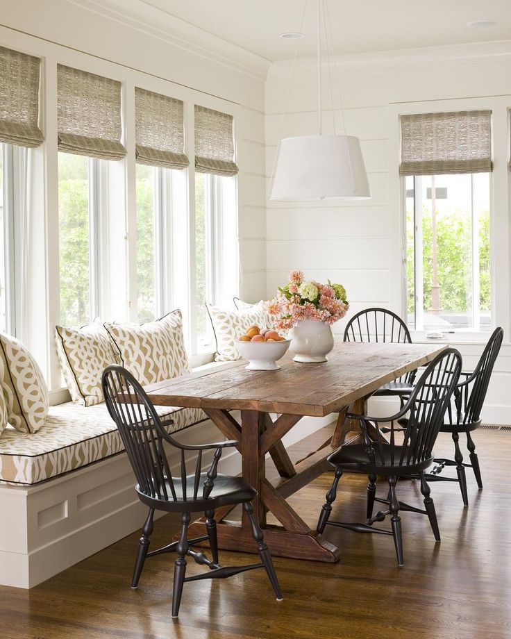 Dining Room Built In Bench Large Windows Farmhouse Table
