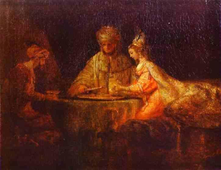 """Ahasuerus and Haman at the Feast of Esther by Rembrandt. Esther possibly means """"star"""" in Persian. Alternatively it could be a derivative of the name of the Near Eastern goddess Ishtar. The Book of Esther in the Old Testament tells the story of Queen Esther, the Jewish wife of the king of Persia who saved the Jews of the realm from extermination."""