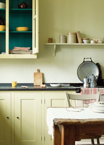 Long  House cupboards with contrast paintwork - like ideas of this