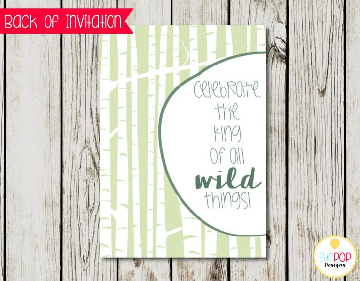 Where The Wild Things Are Invitation, Birthday Invitations, Party Invite, Wild One, Green, White, Gold, Watercolor, Leaves, Foliage, Woods