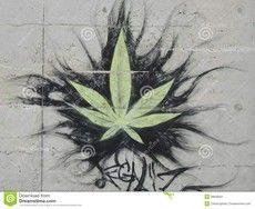 Graffiti Foglia Della Cannabis Fotografia Editoriale