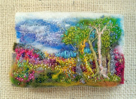 Fiberluscious- Needle Case or Card Case, Wool Felted and Embroidered