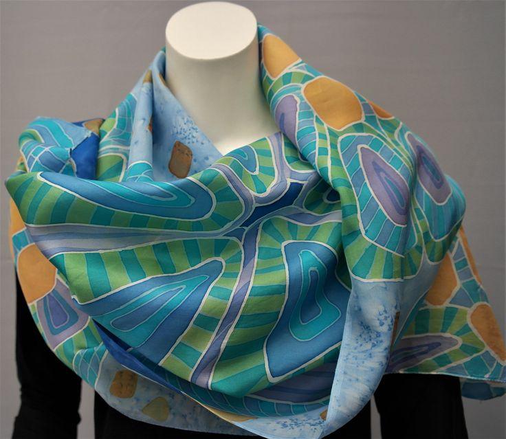 Zijden sjaal, blauw. Grote shawl voor dames door KalishoekScarves op Etsy