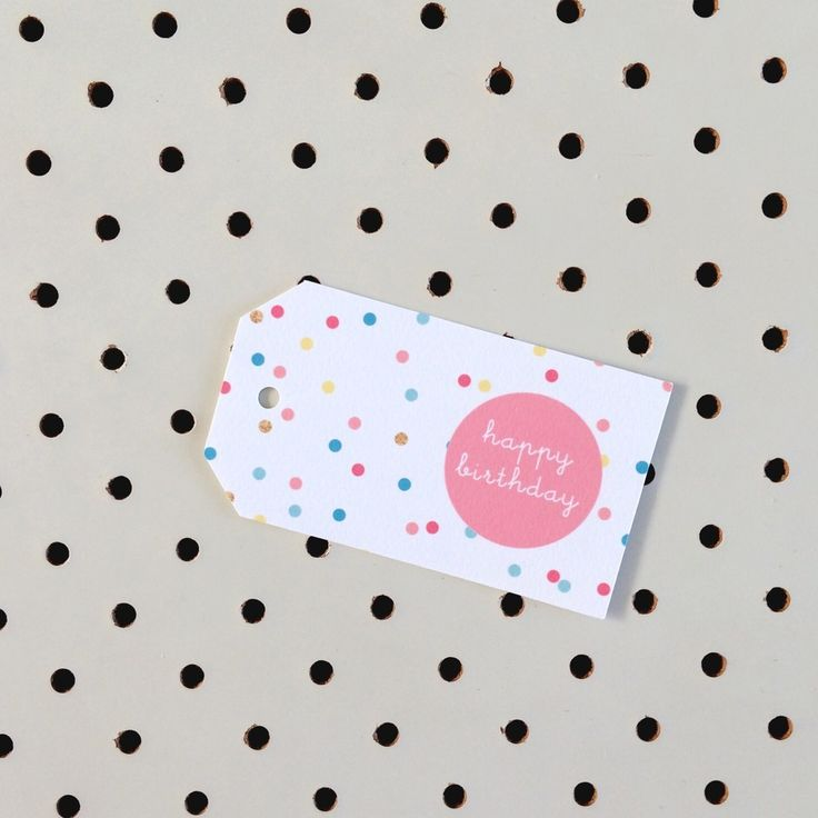 Colourful confetti Happy Birthday gift tag.Printed on high quality felt card stock.