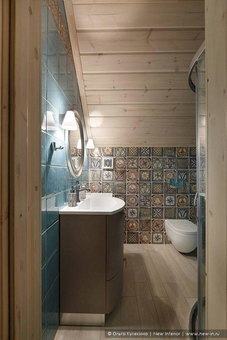 Honka, загородный дом для семьи из 6 человек : Ванная комната в скандинавском…