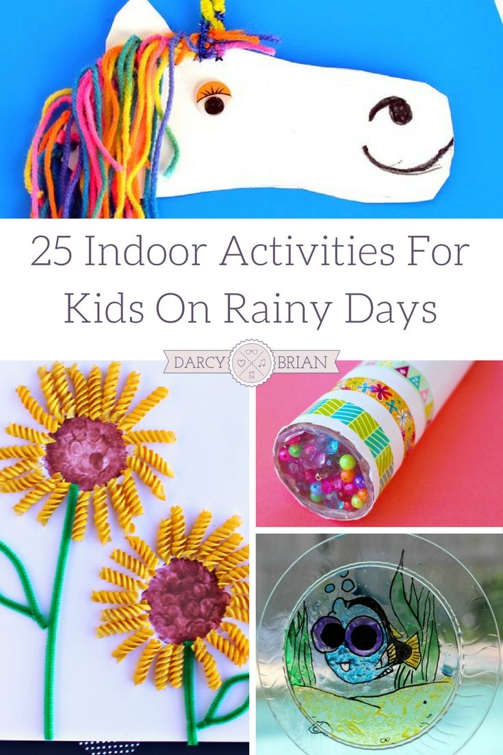 I love these rainy day boredom busters for kids! This list has 25 Indoor Activities For Kids that are perfect for days when the kids can't go outside to play. Keep them entertained with fun, easy, creative kids crafts and activities! via @darcyz