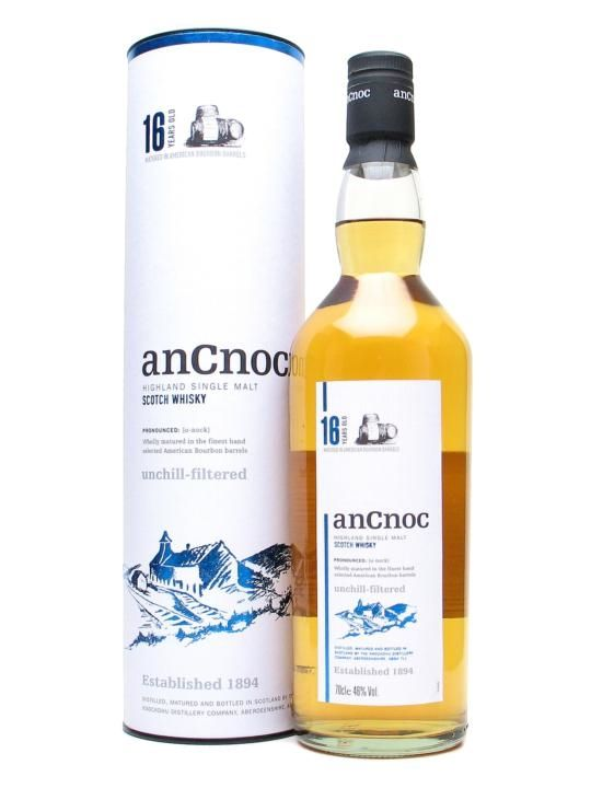 A 16yo bottling from the AnCnoc distillery (formerly known as Knockdhu), bottled at a healthy 46% abv. We think this is one of the most under-rated malts out there - a bargain. Bottler Distillery Bottling Age 16 Year Old Country Scotland Region Highland Cask Type Bourbon Chill Filtered No Web Exclusive Price €84.82