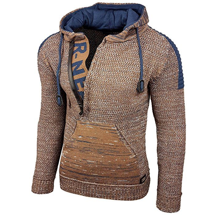 Rusty Neal Top Herren Winter Kapuzenpullover Pulli Sweatshirt Jacke RN-13277 Neu, Farbe:13290-1 Camel / Petrol;Größe:S: Amazon.de: Bekleidung