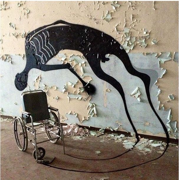 These shadows painted in abandoned psychiatric hospitals by street artist Herbert Baglione - Imgur