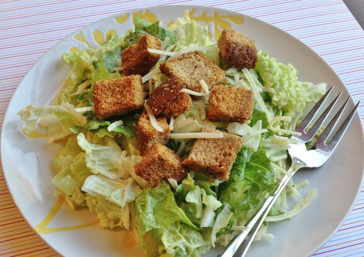 Traditional Caesar Salad gets a nutrition makeover with Napa cabbage and homemade whole wheat croutons. Kid-friendly and dietitian approved? That's winning.
