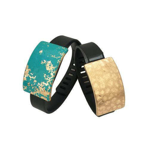 2 for $24 - Charms to Accessorize the Fitbit Flex, Garmin Vivosmart, Xiaomi Mi, Jawbone Up, Garmin Vivofit, Vivosmart HR, Fitbit Charge or Charge HR - The ROXANNA Charms in Hammered Blue and Gold to Dress Up Your Favorite Fitness Tracker - Bundle Pack by Funktional Wearables.