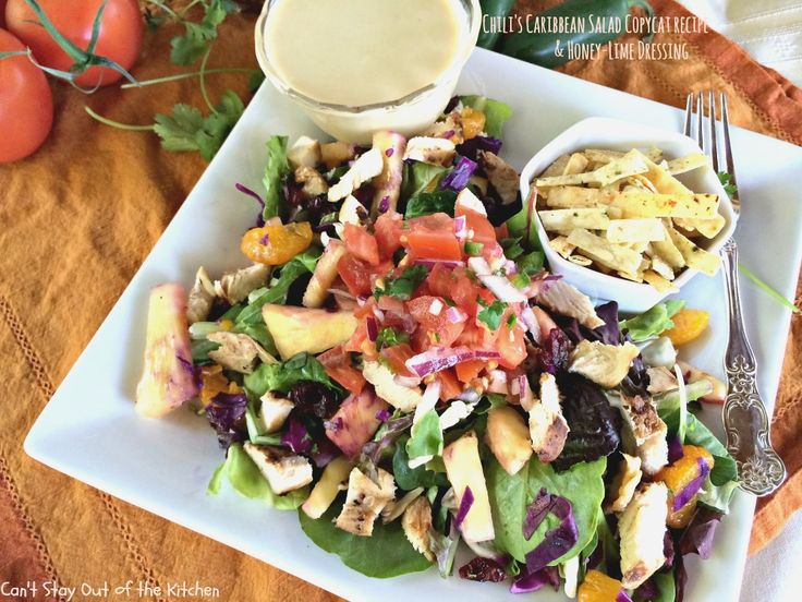 Chili's Caribbean Salad Copycat Recipe & Honey-Lime Dressing via Can't Stay Out of the Kitchen   Have made this a few times now.  Very good!