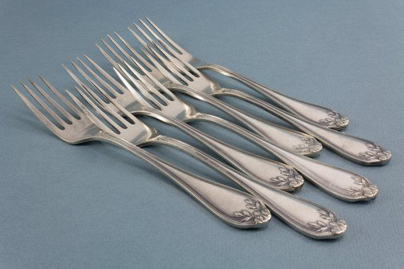 7 beautiful forks dessert forks silver plated Art …