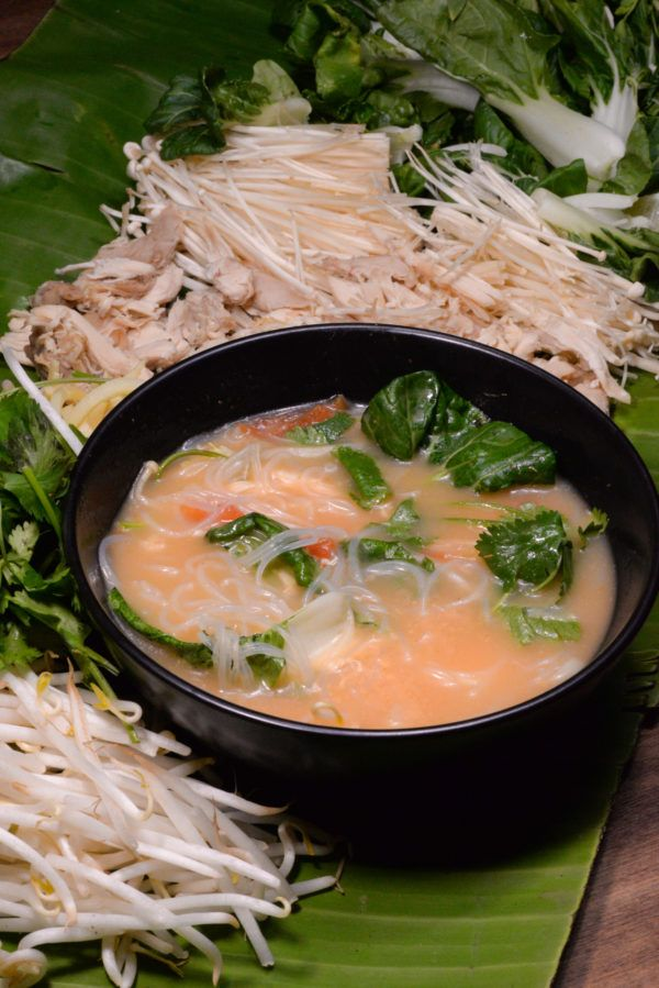 Laotian coconut noodle soup called khao poon is light and delicious ...