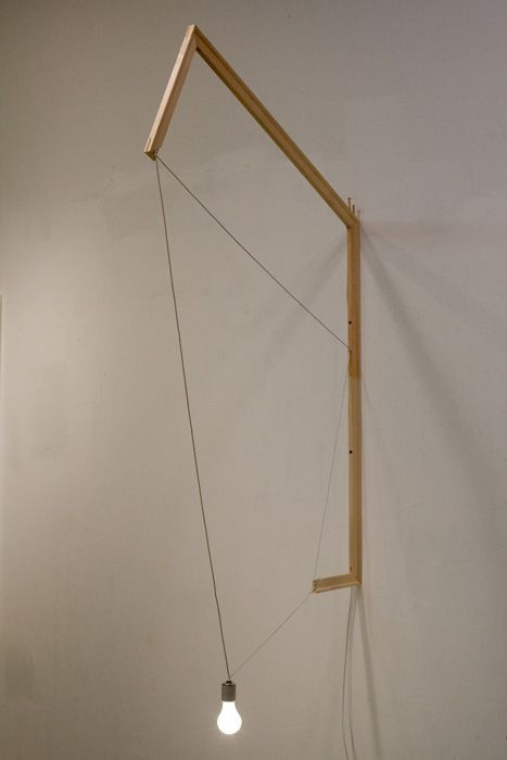 "#4, 2010 wood stretcher bars, light bulb, electrical components, plastic cable fasteners 69""h x 38""d"