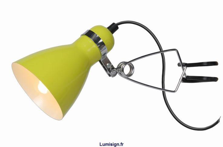Lampe de bureau à pince KLIPPY verte Marque LUCIDE, Achat/Vente Chevet et bureau enfant - Lumisign