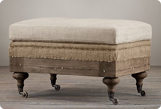roll ottoman; I like the burlap sandwiched between layers of linen & wheels on legs