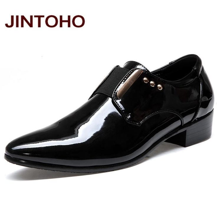 JINTOHO Men Dress Italian Leather Shoes Slip On Fashion Men Leather Moccasin Glitter Formal Male Shoes Pointed Toe Shoes For Men #ShoesForMen