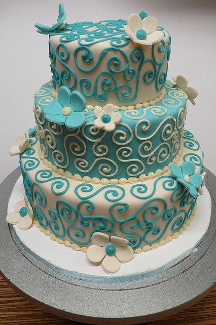 Teal Ivory Wedding Cake by CAKE Amsterdam - Cakes by ZOBOT on Flickr