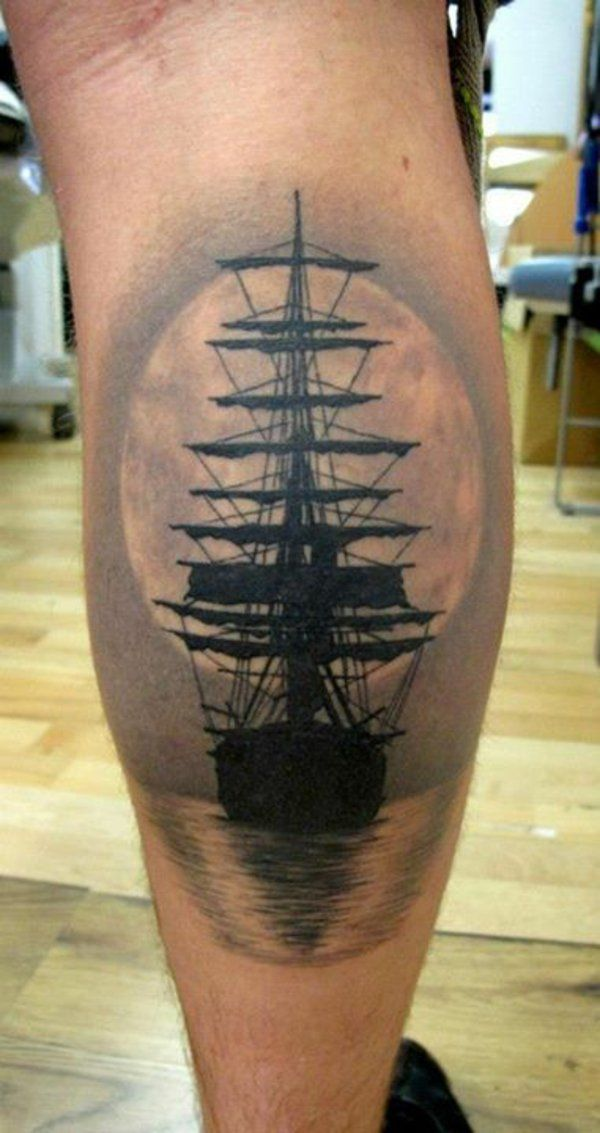 tattoos 3d design am bein schiff
