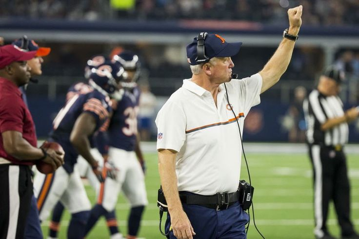 Smiley N. Pool/Staff Photographer. Chicago Bears head coach John Fox calls in a play during the fourth quarter of an NFL football game against the Dallas Cowboys at AT&T Stadium on Sunday, Sept. 25, 2016, in Arlington. (Smiley N. Pool/The Dallas Morning News)