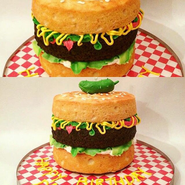 ... hamburger !! @_virginice fondant #cake #hamburger #birthday #