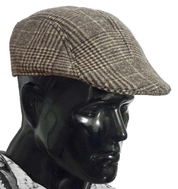 Dark Brown Check Woolen Flat Cap (Woolen)