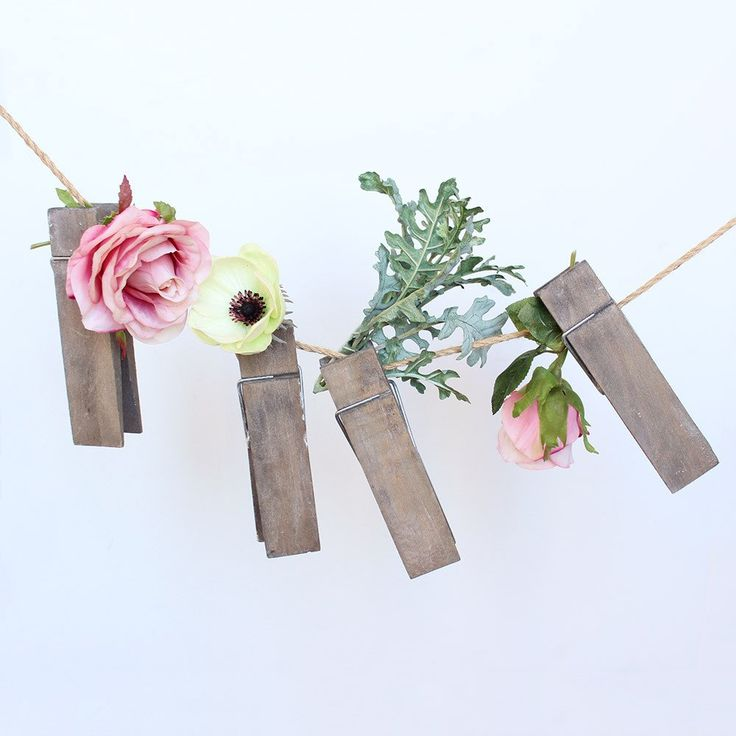 """Oversized Wooden Clothespins in Grey Brown<br>Bag of 4<br>5.75"""" Long"""