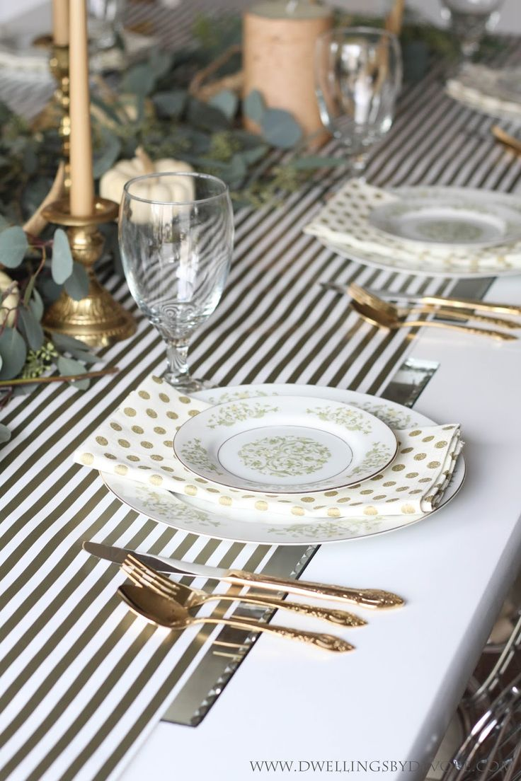 Thanksgiving/Fall Table setting.  Lots of natural elements, gold and white, stripes, polka dots, gold flatware