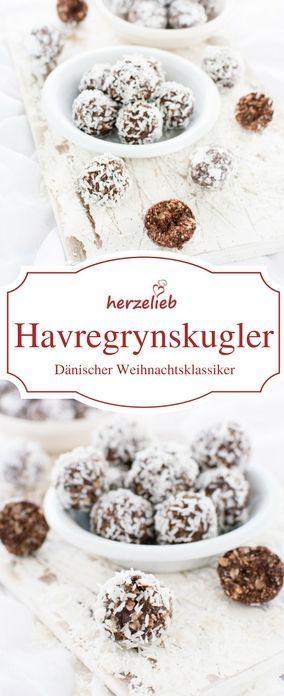 Havregrynskugler - Haferlfockenkugeln, Klassiker zu Weihnachten in Dänemark. Das Rezept ist von herzelieb #foodblog #deutsch #foodblogger