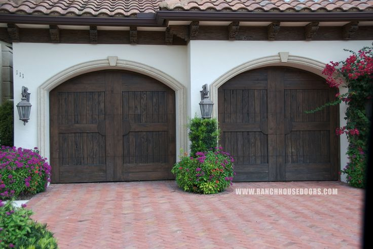 Ranch house doors elements collection faux wood garage for Garage door curb appeal