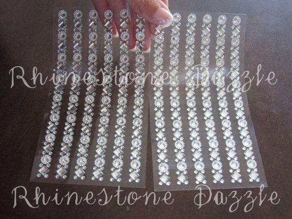 26e5b2a274 12 clear rhinestone strip stickers, stick on rhinestones, rhinestone ...