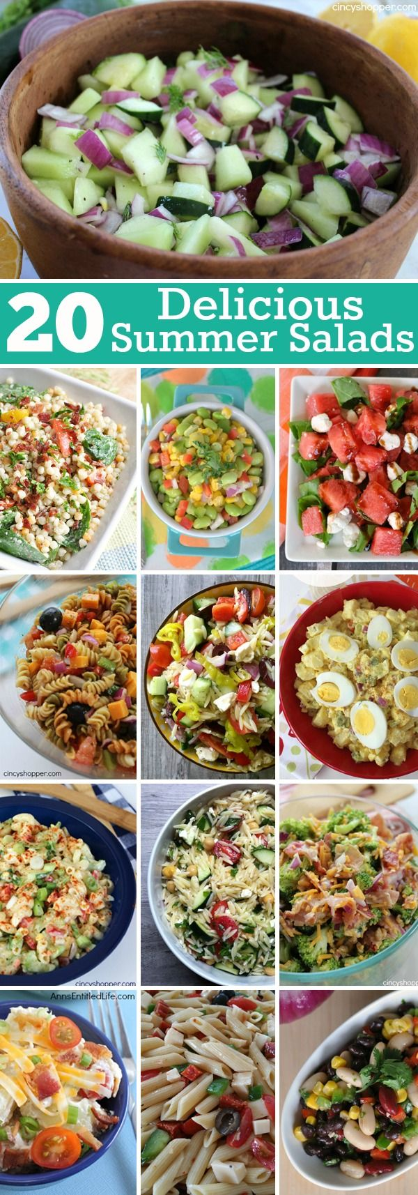 20 Delicious Summer Salads for your picnics, bbqs and parties. Pasta, Macaroni, Potato and more!