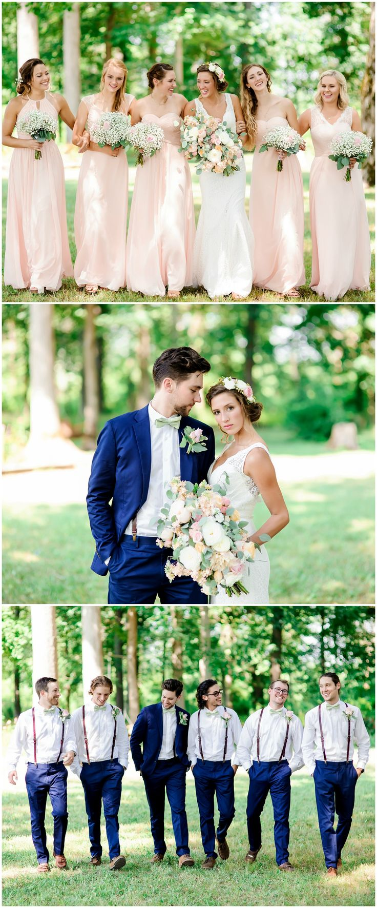 Spring wedding fashion, groomsmen in suspenders, navy blue suit, pastel floral wedding bouquet, baby's breath bouquets, long light pink bridesmaid dresses // Tracy Shoopman Photography