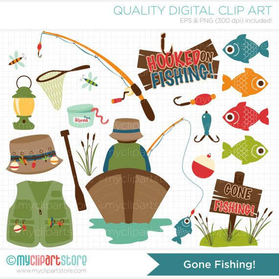 Father's Day / Gone Fishing Clip Art / Digital Clipart - Instant Download