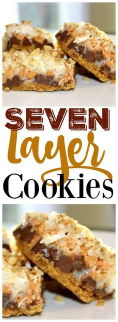 If you're looking for an easy Christmas cookie recipe, these 7 layer cookies are exactly what you want!  And they are UNBELIEVABLE.  Chocolate, butterscotch, graham cracker, coconut, condensed milk, walnut - they have it all!