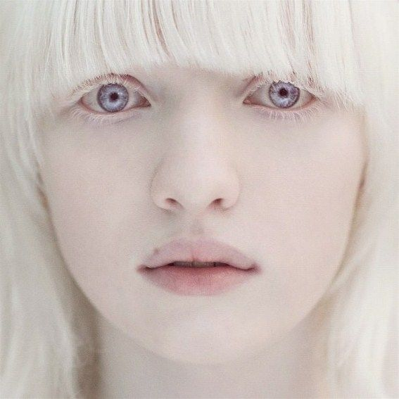 so pretty, an albino women with violet eyes