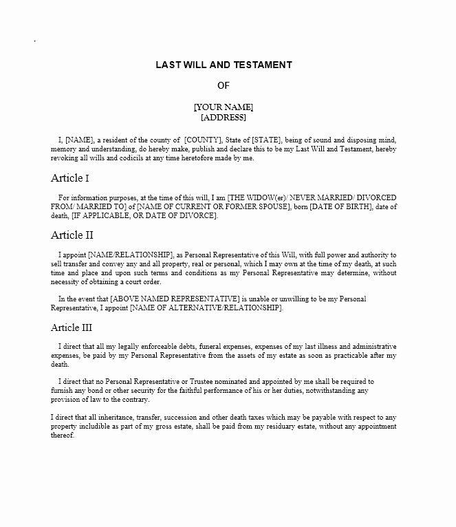 Last Will And Testament Form Nc Beautiful 39 Last Will And Testament Last Will And Testament Will And Testament Templates