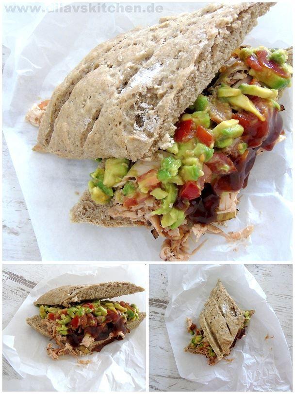 Pulled Chicken-Avocado-Sandwich http://www.dilavskitchen.de