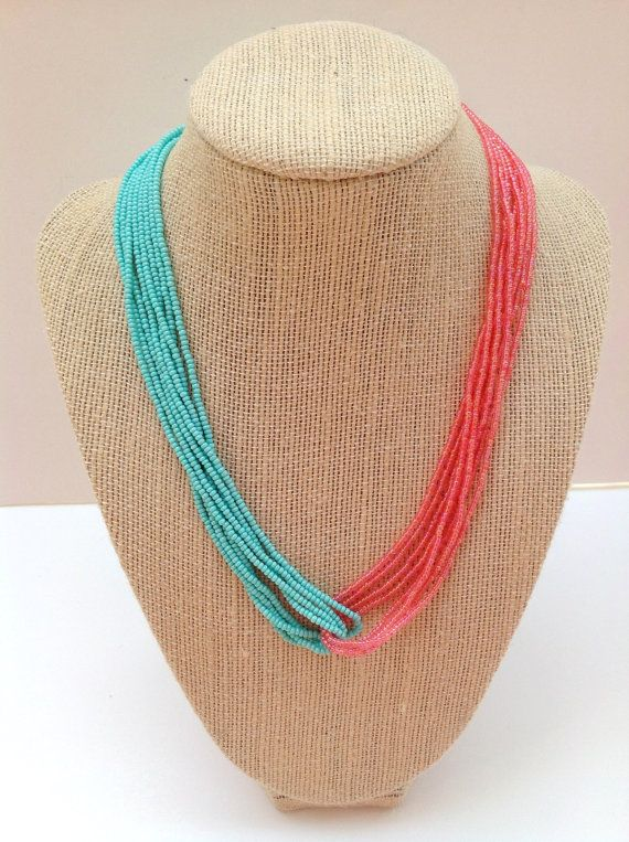 Turquoise and coral seed bead necklace teal by StephanieMartinCo, $15.00