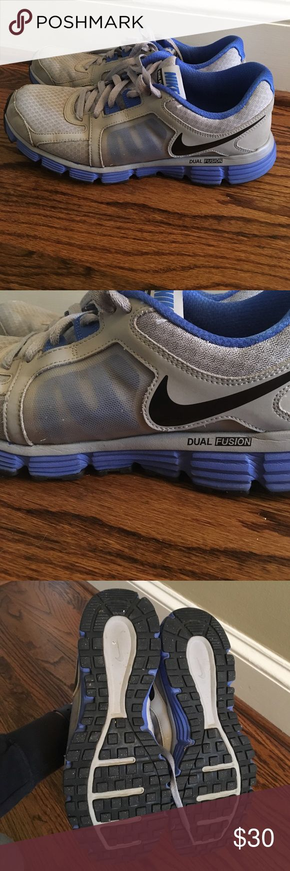 Men's Nike dual fusion Gray and blue men's Nike. Size 11. Fair used condition but have a lot of life left!! Nike Shoes Athletic Shoes