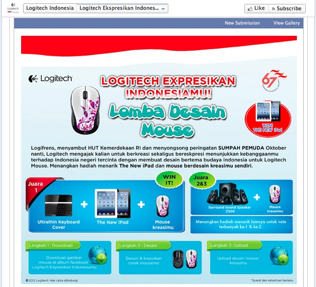 Lomba Desain Mouse Logitech, dalam rangka dirgahayu RI.  Berlangsung selama 10 Agustus-30 September 2012.  Screenshot diambil di Facebook Page Logitech Indonesia.