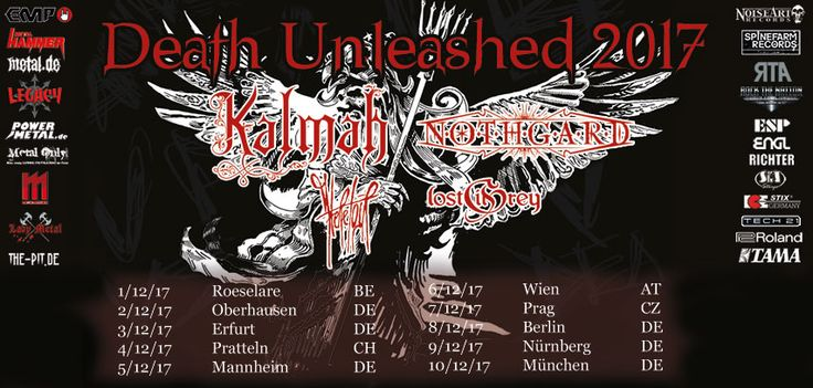 """""""Winter is coming""""… and death will be unleashed. But of course we are talking about finest Melodic Death Metal! The Finnish Melo Death Masters KALMAH finally hit Central European roads again. Together with the German Epic Melodic Death Metal quartet NOTHGARD and the German Post Metal Band HERETOIR. The package will be supported by the Finnish """"Theatrical Metal/Melodic Death"""" Newcomers LOST IN GREY. Get ready for a tour full of guitar power, raging keyboards, epic orchestral arrangements etc."""