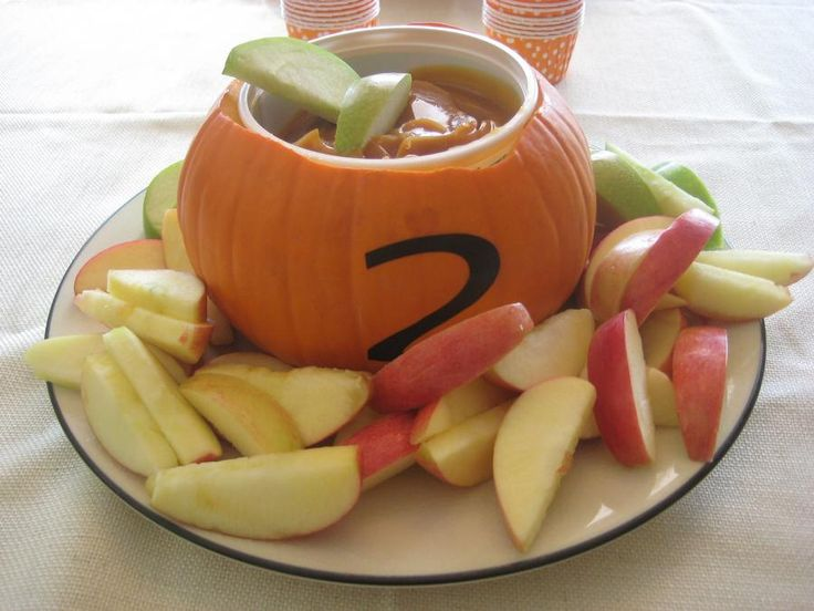 Pumpkin Party Ideas - small pumpkins with bowl inside. I'm not sure why it had the number 2 on it, but this is cool if I'm that motivated.