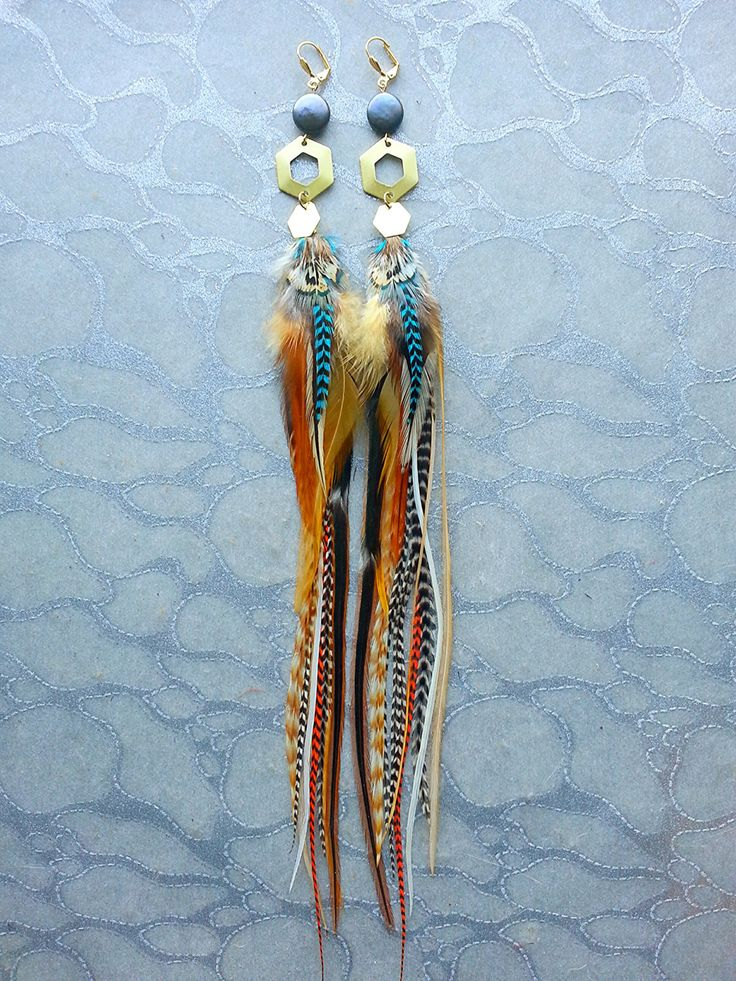 Brass Gold Hexagon Feather Earrings w Honeycomb Charms - Brown Black White Turquoise Blue Ginger Striped Solid Sacred Geometry pearls boho by MEDICINAdesigns on Etsy